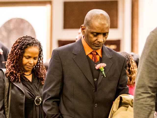 <p>Allan Abraham, the father of Lauren Abraham, leaves the funeral service for his daughter at the Christian Cultural Center in Brooklyn on Nov. 8, 2012.</p>