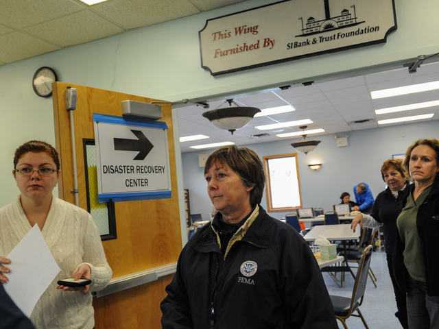 <p>Sandy Ramsey oversees the opening of the FEMA center in</p>