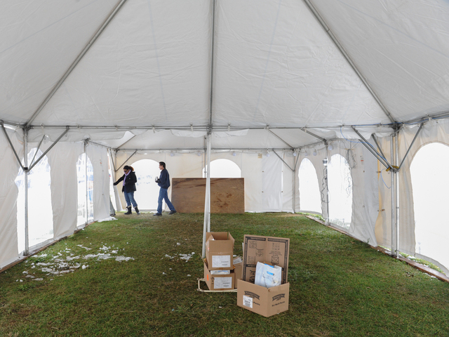 <p>Inside of the empty FEMA tent in Miller Field in Staten Island after the nor&#39;easter at 11:30 pm.</p>