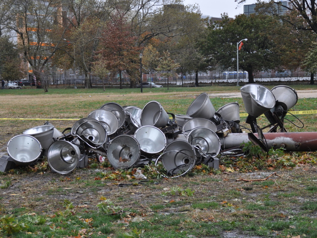 <p>A giant set of field lights was toppled in McCarren after Sandy.</p>