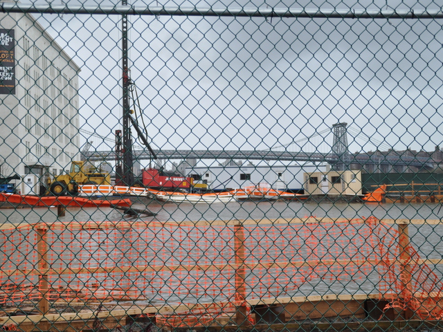 <p>A development site by the East River at North 3rd Street was flooded on Oct. 30, 2012.</p>