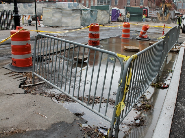<p>The South Street Seaport was flooded with water during Hurricane Sandy.</p>
