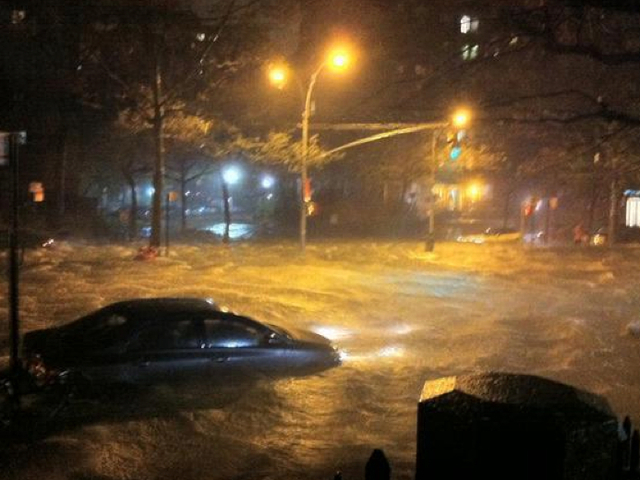 <p>&quot;PHOTO - AN OCEAN ON NY&#39;S LOWER EAST SIDE. Never happened ever like this,&quot; tweeted @nycarecs during Hurricane Sandy on Monday, Oct. 29, 2012.&nbsp;</p>