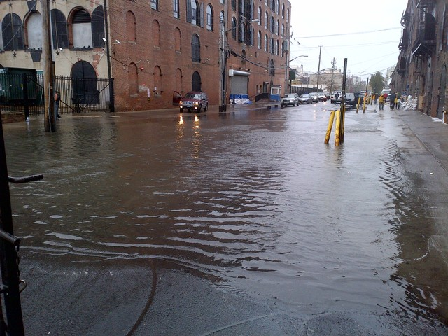 <p>Van Brunt Street in Red Hook flooded as Hurricane Sandy struck Monday, Oct. 29, 2012.&nbsp;</p>