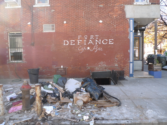 <p>Fort Defiance restaurant on Van Brunt Street in Red Hook. The restaurant was hard hit by Hurricane Sandy, but owner St. John Frizell said he hopes to be up and running in two weeks.</p>