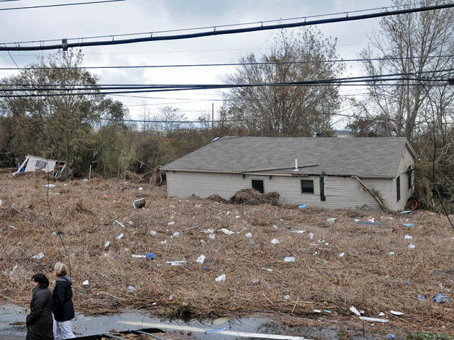 <p>A house that neighbors on Fox Beach Avenue said was torn from its foundation and moved to the back of the property during Hurricane Sandy, on Oct. 31, 2012.</p>