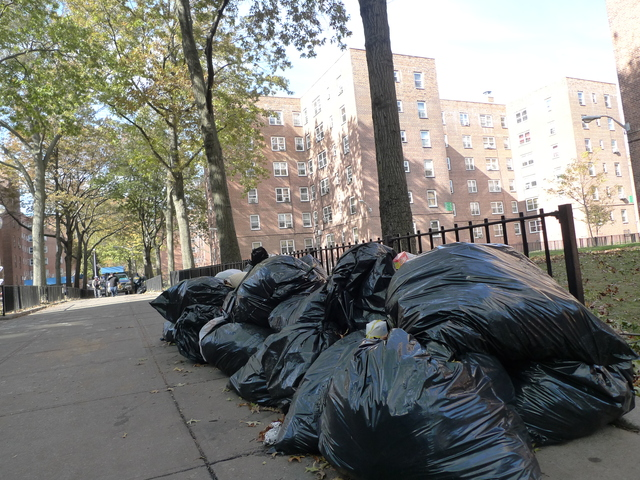 <p>Garbage has been piling up at Red Hook Houses after Hurricane Sandy, attracting rats, residents said.</p>