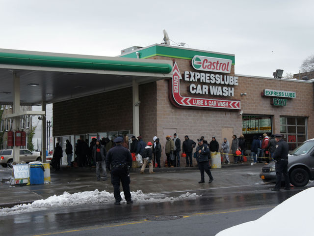 <p>A BP at Bedford and Lincoln Place in Crown Heights was pumping, mostly serving the can crowd. Those waiting in line said they&#39;d come from as far away as Bed-Stuy and Cypress Hills, after becoming stranded searching for gas.</p>