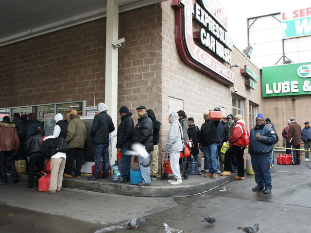 <p>A line at the BP gas station in Crown Heights, as people waited to fill up gas cans, water jugs and Arizona Iced Tea containers.</p>