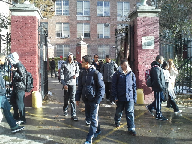 <p>Students at George Washington High School shared space with a homeless shelter Nov. 8, 2012.</p>