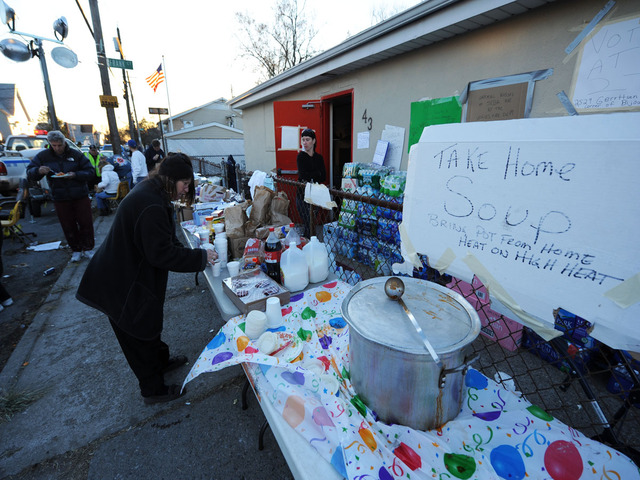 <p>A Gerritsen Beach church offers Hurricane Sandy victims free food and clothing.</p>