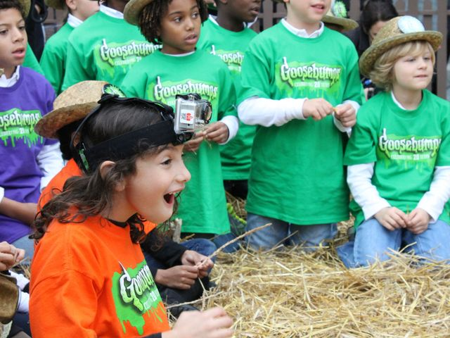 <p>Mandell School third-graders gasp at a giant pumpkin at the 20th anniversary celebration of &quot;Goosebumps&quot; in Oct. 2012.</p>