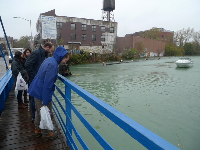 <p>Locals lined up to get a look at the Gowanus Canal as Hurricane Sandy bore down on the city.</p>