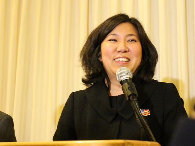 <p>Grace Meng delivers a victory speech after winning the 6th congressional district election on Nov. 6.</p>