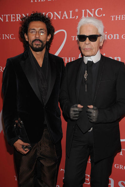 <p>Haider Ackerman and Karl Lagerfeld at the Fashion Group&#39;s Night of Stars Gala at Cipriani Wall Street, Thursday, October 25, 2012.</p>