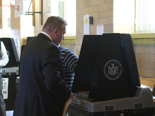 <p>City Councilman Dan Halloran fills out his ballot at P.S. 184 in Whitestone on Nov. 6. Halloran later said that he voted for Republican Mitt Romney for president.</p>