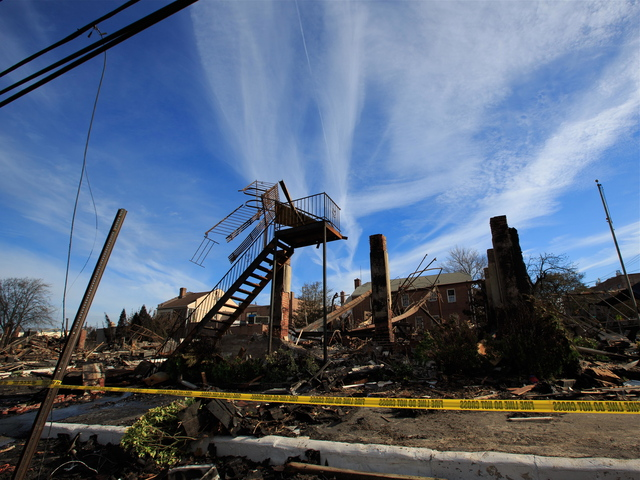 <p>Little more than the staircase of the bar stood after the fire that burnt down the popular restaurant Harbor Light Pub.</p>