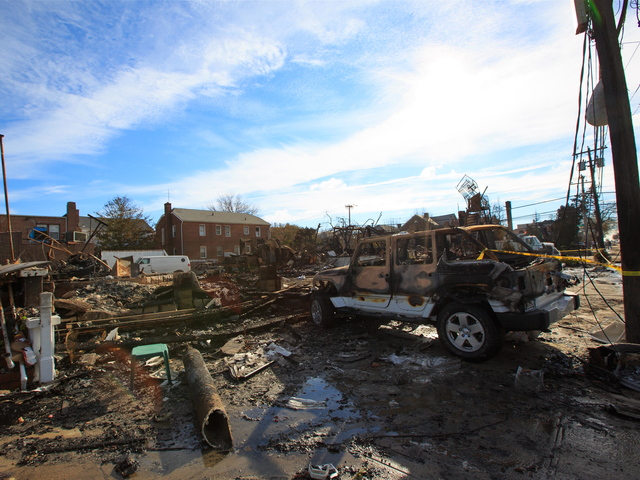<p>On Nov. 1, 2012, all that remained of the popular Belle Harbor restaurant Harbor Light Pub was rubble after it was destroyed by a fire during Hurricane Sandy.</p>
