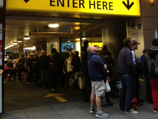 <p>Roughly 50 people stood in line for rental cars at a Hertz facility in Midtown Manhattan on Tuesday, Oct. 30, 2012, a day after Hurricane Sandy hit the city.</p>