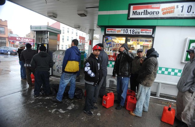 <p>A line of people took their gas cans to the Hess station on Metropolitan and Bushwick avenues in Williamsburg.</p>