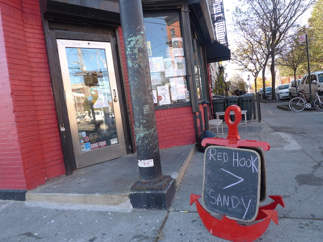 <p>A sign outside Hope &amp; Anchor on Van Brunt in Red Hook. The restaurant was open for business on Nov. 4, 2012, after the neighborhood was flooded by Hurricane Sandy.</p>