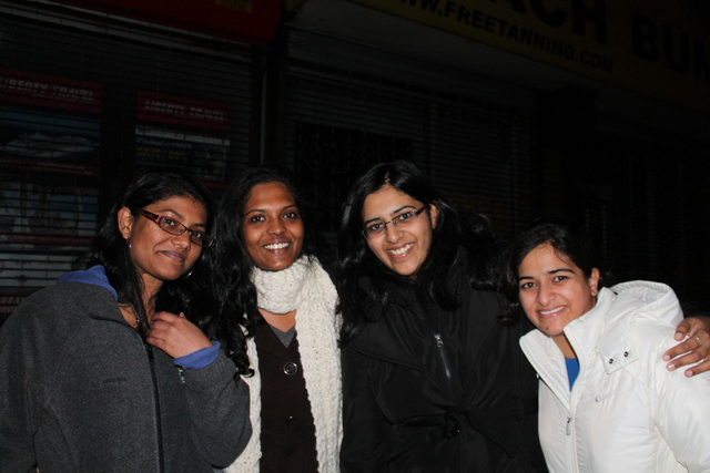 <p>Aswini Mangadu, 24, a student at City College, was walking down Cross Bay Boulevard with Gaya Thri, 24, a researcher, and Ankita Anand, 22, and Poojiha Mantena, 24, students at NYU Polytechnic, pose for a photo.</p>