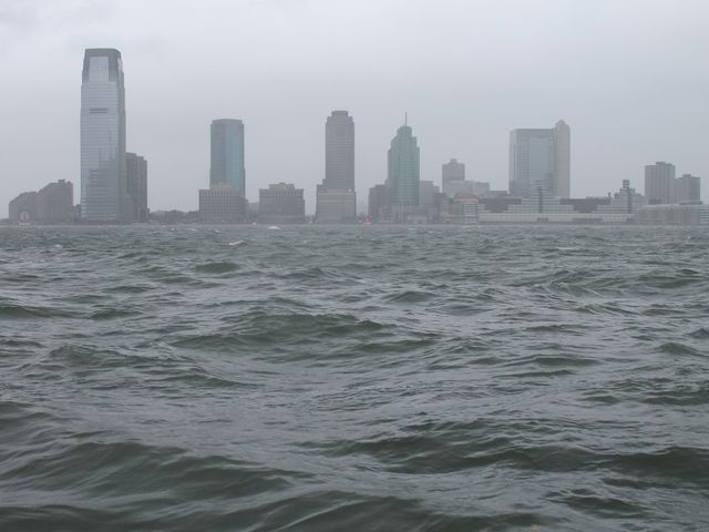 <p>Swells in the Hudson River near the World Financial Center on Oct. 29, 2012.</p>