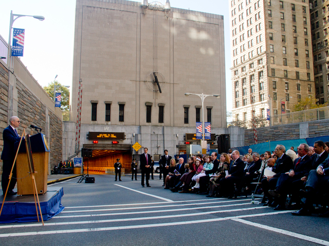 <p>Michael Carey, son of the late Hugh L. Carey, speaks Oct. 22, 2012 at the ceremony to rename the Brooklyn-Battery Tunnel after his father.&nbsp;</p>