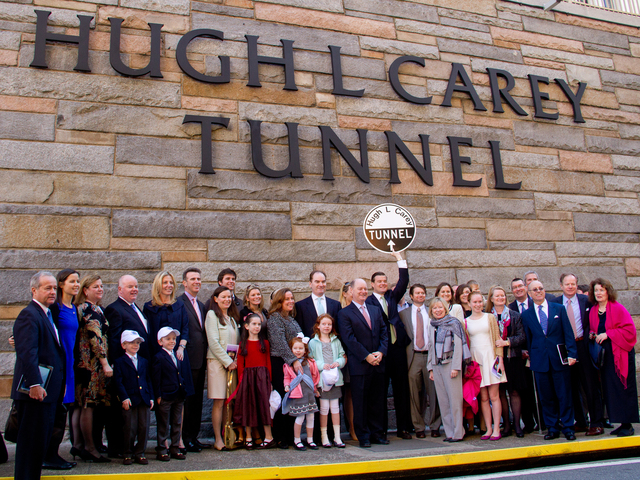 <p>Members of the Carey family gathered Oct. 22, 2012 for the ceremony to rename the Brooklyn-Battery Tunnel after former&nbsp;Gov. Hugh L. Carey. &nbsp;</p>