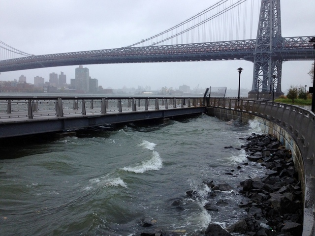 <p>Waves crashed along the East River waterfront near the Williamsburg Bridge on the Lower East Side as Hurricane Sandy barreled toward New York on Monday, Oct. 29, 2012.</p>