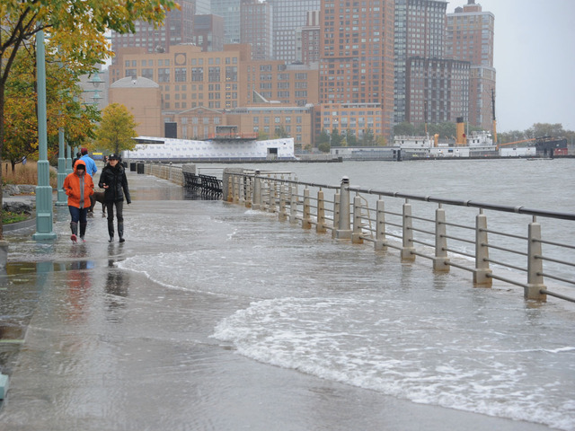 <p>The storm surge along the Hudson River in lower Manhattan.</p>