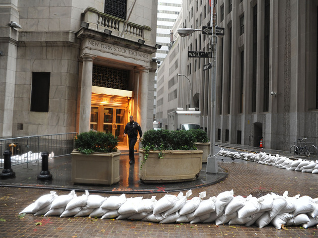 <p>Sandbags surround the New York Stock Exchange, which closed due to Hurricane Sandy.</p>