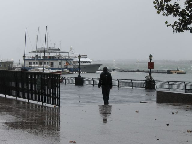 <p>At the World Financial Center in lower Manhattan on Oct. 29, 2012, as Hurricane Sandy approaches.&nbsp;</p>