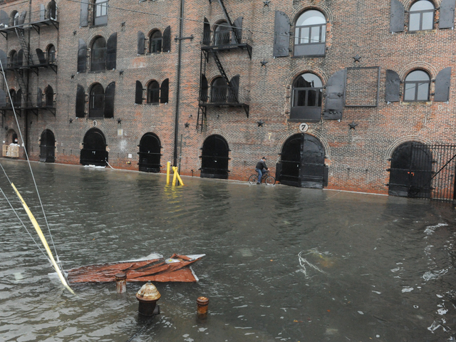 <p>The end of Van Brunt Ave is flooded in Red Hook, Brooklyn</p>
