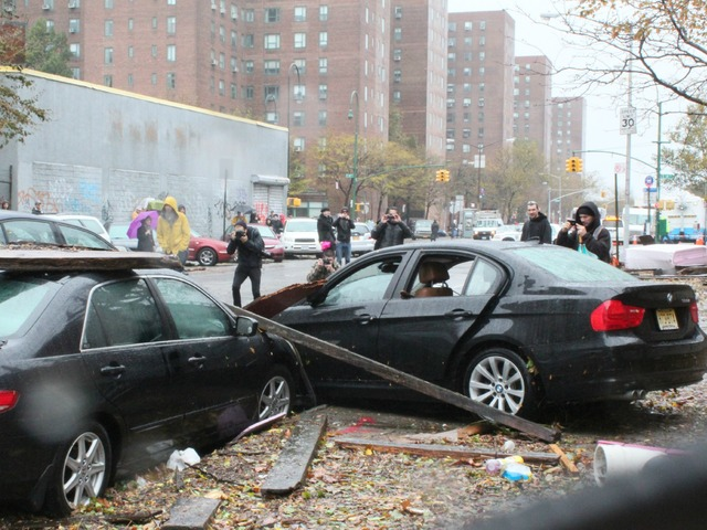 <p>Some of the damage brought on by Hurricane Sandy in the East Village.</p>