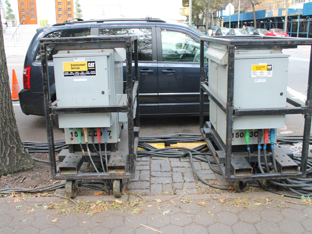 <p>Many trailers were set up along Central Park West and were seemingly powered by mobile electricity units on Thursday, Nov. 1, 2012.</p>