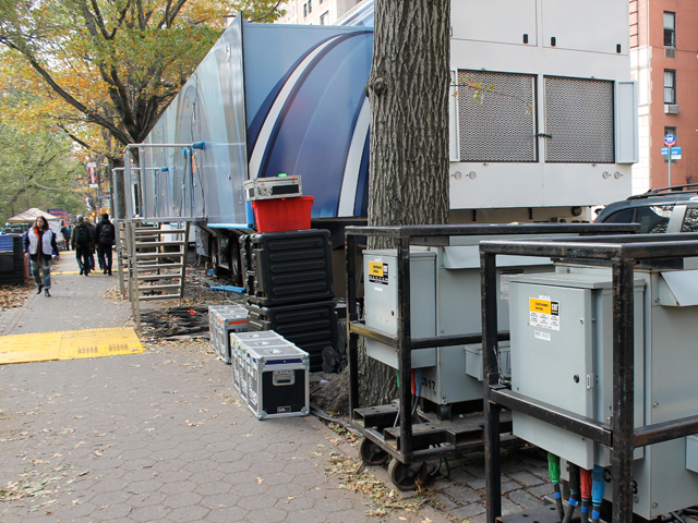 <p>Several blocks of Central Park West were lined with trailers and construction materials as organizers prepped for the ING New York City Marathon.</p>