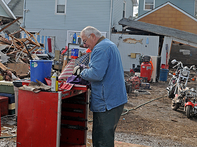 <p>Dom Traina, 66, motorcycle repair shop in New Dorp Beach, Staten Island, which he has owned since 1959, was completely destroyed during Hurricane Sandy, Nov. 1, 2012.</p>