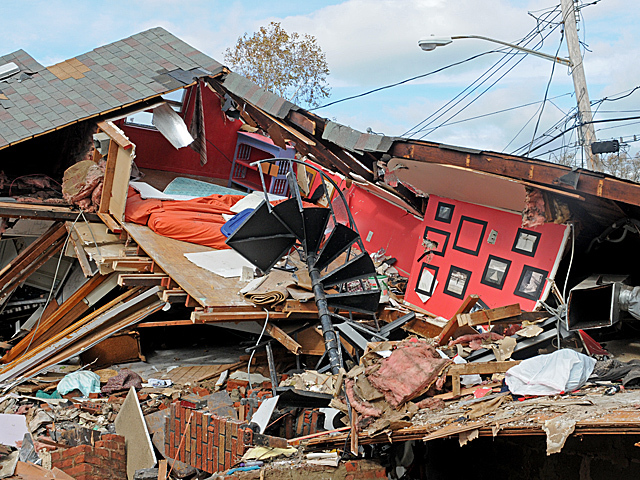 <p>A house on Cedar Grove Avenue in New Dorp Beach, Staten Island is completely destroyed during Hurricane Sandy.</p>