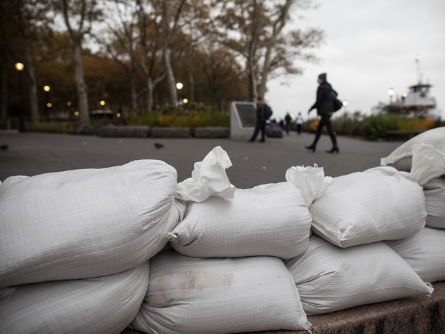 <p>Dozens of sandbags lined the dock area of the normally busy Battery Park Ferry Terminal in lower Manhattan as New York City braced for the impact of Hurricane Sandy on Oct. 28, 2012.</p>