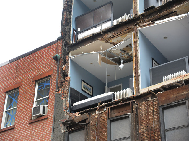 <p>The exterior facade of a Chelsea apartment fell off when Hurricane Sandy made landfall Monday Oct. 29, 2012.&nbsp;</p>