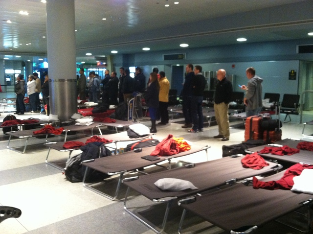 <p>Dozens of stranded travelers have been sleeping on cots in JFK Airport after Hurricane Sandy.</p>
