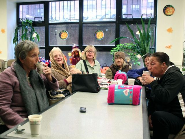 <p>Residents at Knickerbocker Village escape the cold in a warming center set up in the housing complex&#39;s basement.</p>