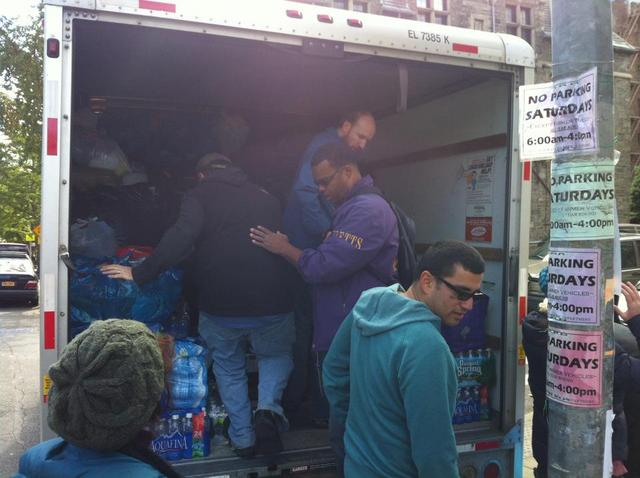 <p>The Knights of Columbus and the Good Shepherd Men&#39;s Club filled a truck and three SUVs with donated items for victims of Hurricane Sandy on Nov. 3, 2012.</p>