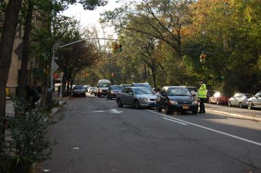 Emergency rules put in place after Hurricane Sandy created a traffic jam in Inwood with lines of cars blocks long on Thursday November 1, 2012.