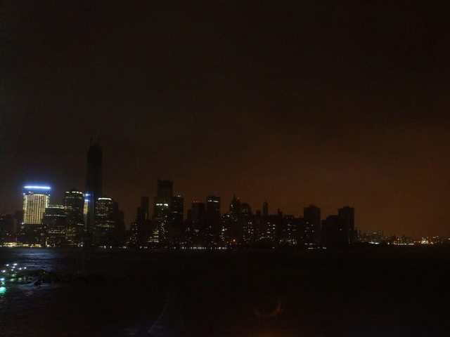 <p>&quot;Lower Manhattan is eerily dark, even One World Trade Center is dark now,&quot; tweeted @augieray at 9:20 p.m. on Monday during Hurricane Sandy.</p>