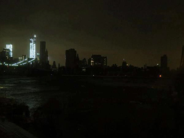 <p>A swath of Manhattan was left in the dark after Hurricane Sandy knocked out power about 8:30 p.m. on Monday.</p>