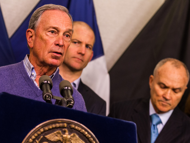 <p>New York City Mayor Michael Bloomberg speaks to the media at the office of Emergency Management on Oct. 27th, 2012 before hurricane &quot;Sandy&quot; hits the New York area.</p>