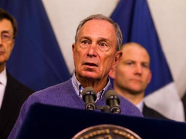 Mayor Michael Bloomberg updates the media about Hurricane Sandy at the Office of Emergency Management on Oct. 27, 2012.