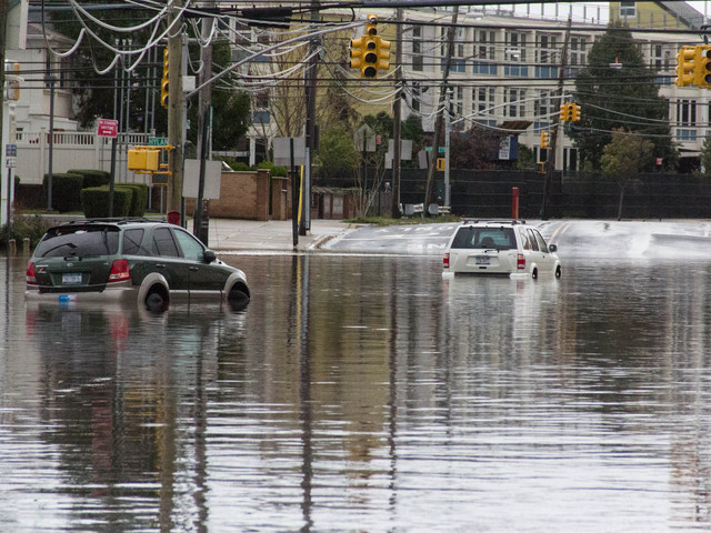 <p>Midland Avenue and Hylan Boulevard in Grant City were still flooded the morning of Tuesday October 30, 2012, after Hurricane Sandy struck Staten Island.</p>
